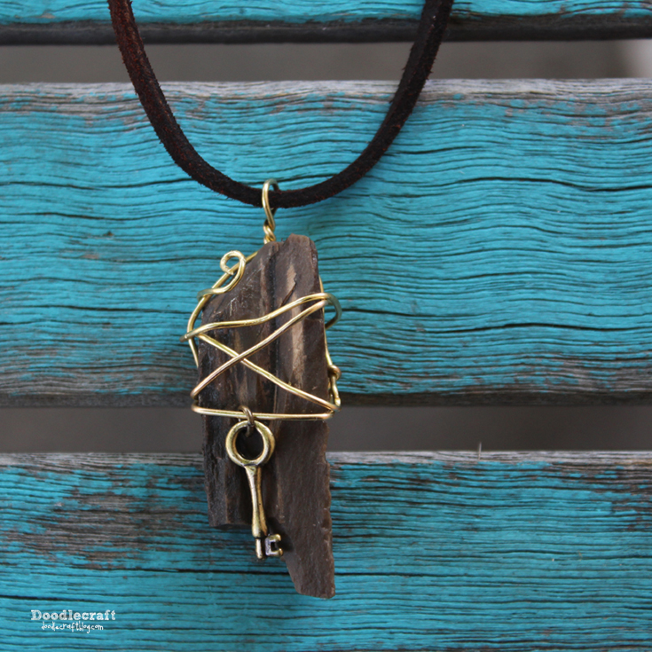 Wire Wrapped Pendants  Find an old rock and wrap it into a pendant! This is actually petrified wood, but any rock will work! You just need some wire for wrapping. This wire is very thick, but thinner wire will work too, just as more wraps.