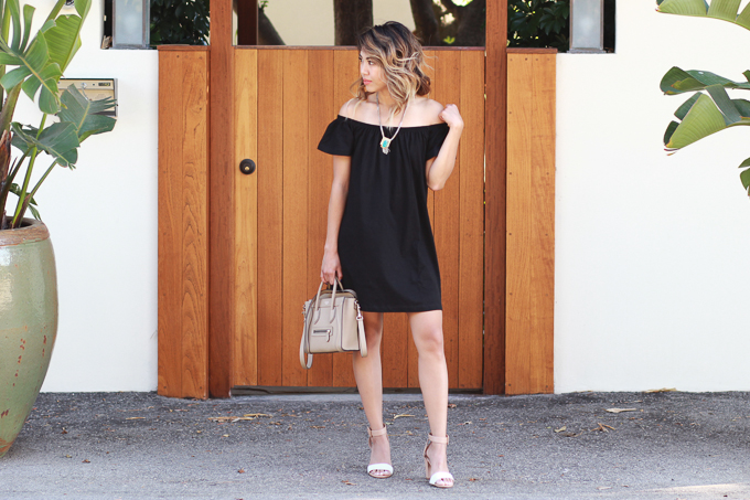 ASOS Off the Shoulder Black Dress