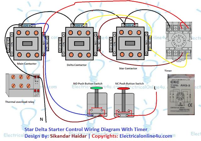 star delta starter control circuit diagram