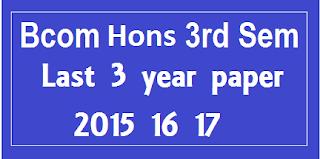 Bcom Hons 3rd sem Last 3 Year Question Paper Mdu
