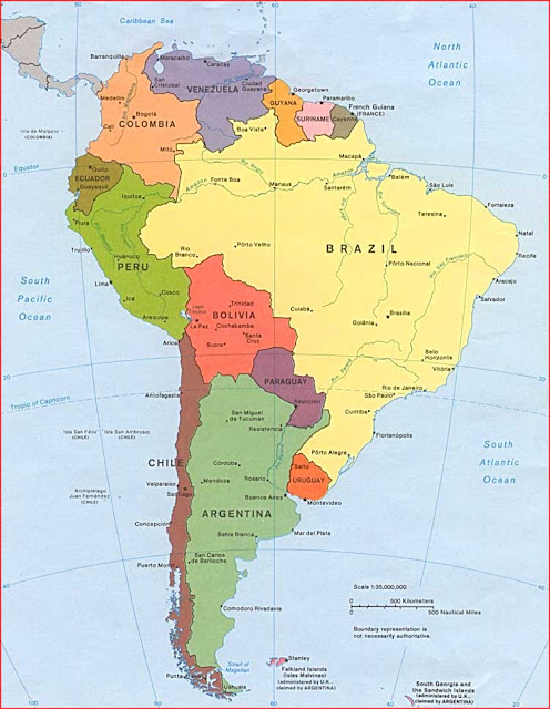 Gambar Peta politik Amerika Selatan