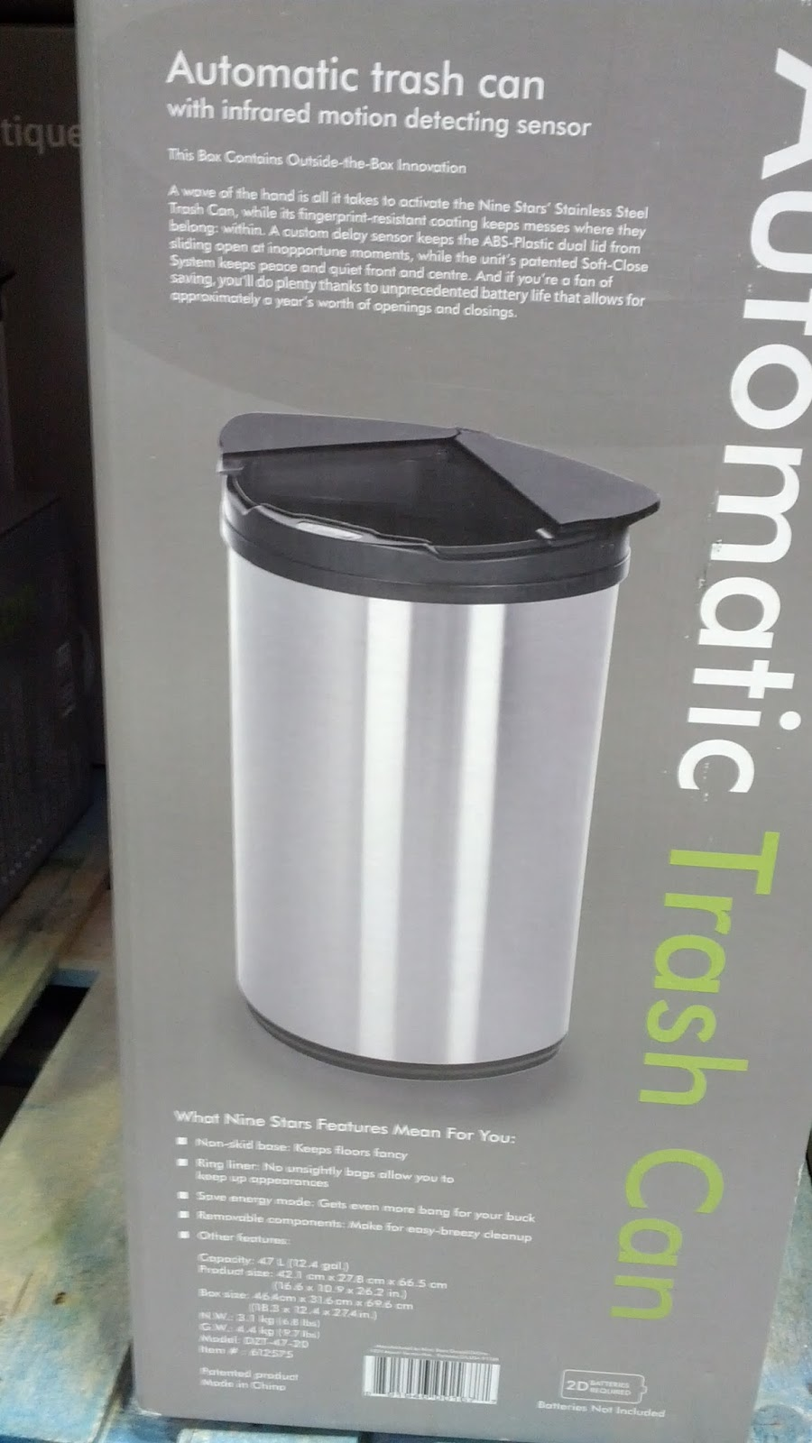 Nine Stars Automatic Stainless Steel Trash Can Costco
