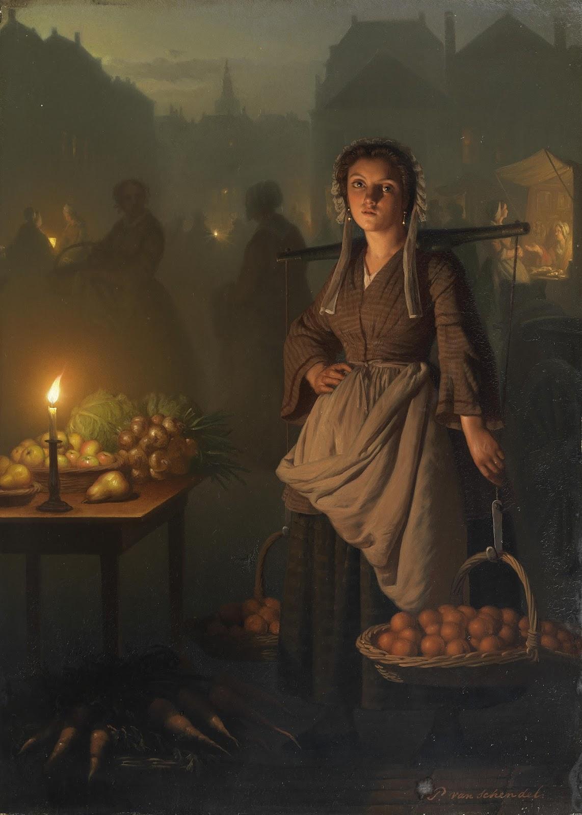 Mercado à Luz de Vela - Petrus van Schendel e suas pinturas ~ Especialista em cena noturna