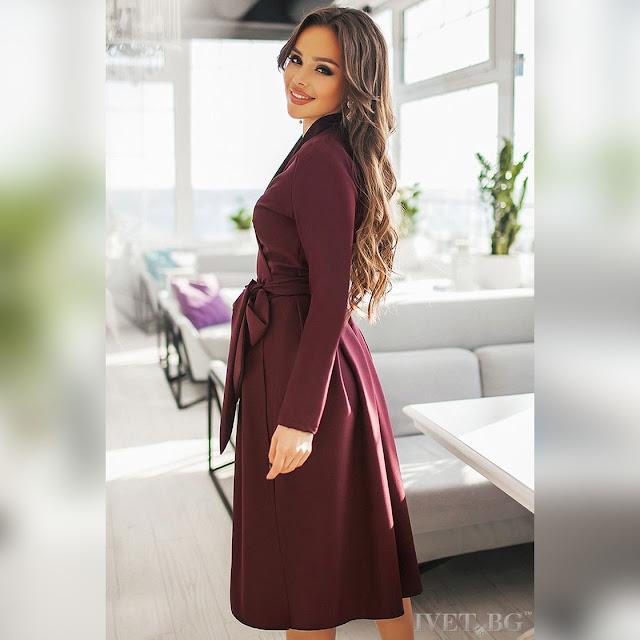 Μίντι μπορντό φόρεμα JANETA
