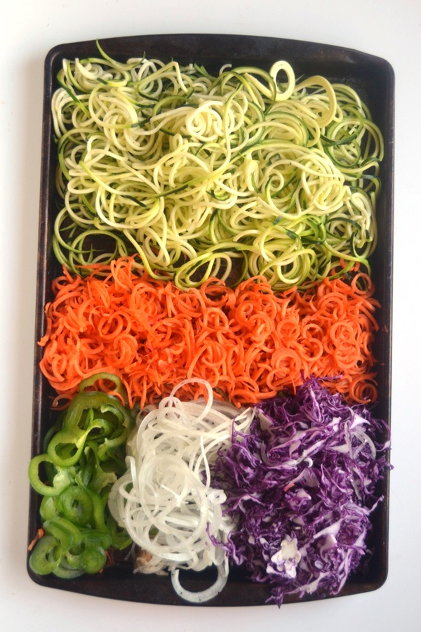 Spiralized Pad Thai is made with all vegetables and no noodles for a lighter, healthier dish! Tossed with a delicious spicy peanut sauce, you won't miss the noodles at all. www.nutritionistreviews.com
