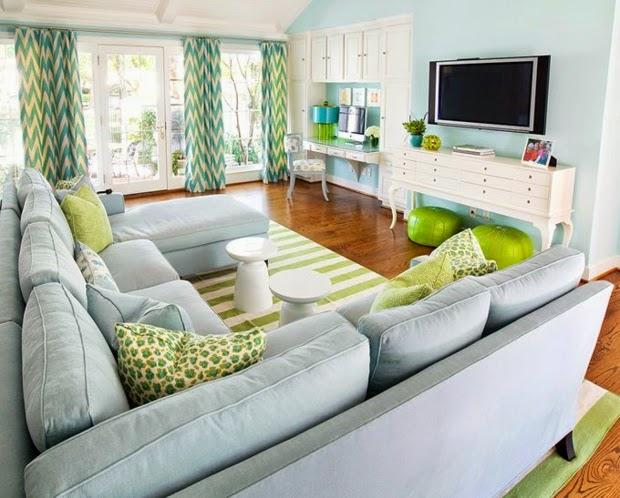 diseño sala azul verde