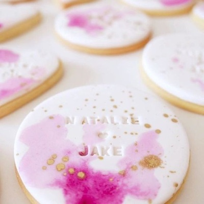 6. Watercolor Cookies With A Stamped Name