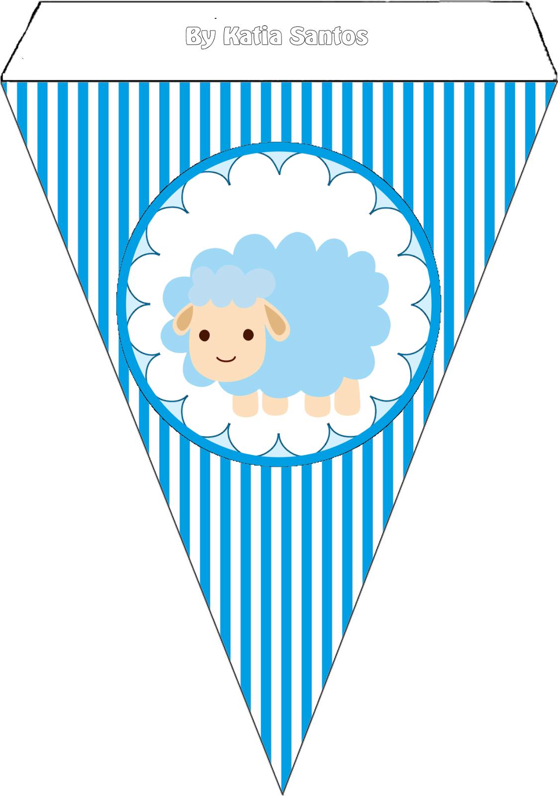 Banderines para Imprimir Gratis de Ovejita para Niño.