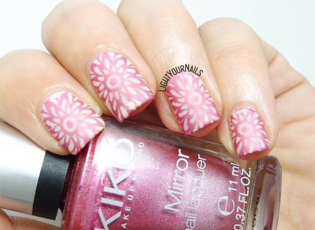 Pink mandala stamping nail art - Light Your Nails!