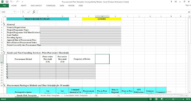 Procurement Plan Excel Template