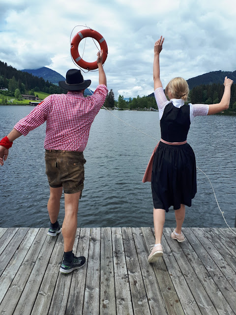 Bjorn Troch, The Social Traveler and Lea from Escape Town at Schwarzsee in Kitzbühel