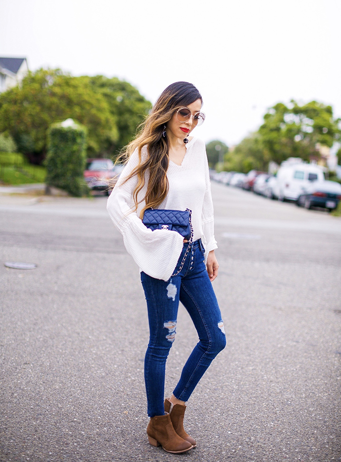 Free people thermal top, bell sleeve top, free people button jeans, ankle booties, chanel classic mini flap bag, chloe sunglasses, fall outfit ideas, baublebar earrings