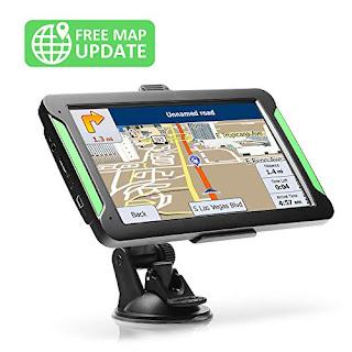 Lifetime Map Updates Sun Shade Car Sat-Nav 7 inch Portable Navigation System for Cars Real Voice Turn-to-turn Alert Vehicle GPS Navigator On-Dash Mount