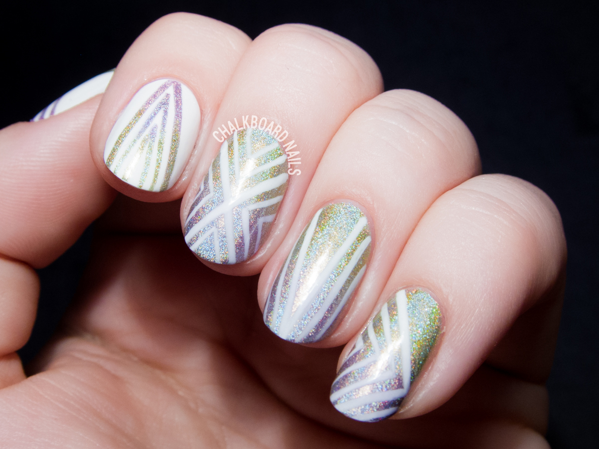 Holographic line nail art by @chalkboardnails