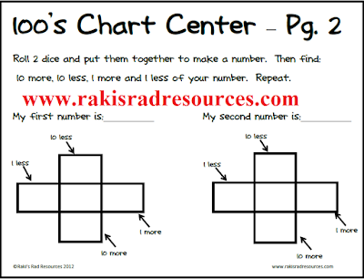 Free hundreds chart center - glue stick free - from Raki's Rad Resources.