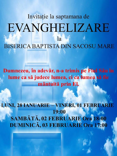 Evanghelizare la Biserica Baptista din Sacosu Mare