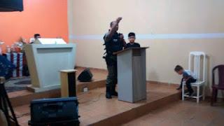 Em São Vicente do Seridó, sargento da Polícia Militar profere palestra em igreja