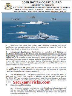 Indian Coast Guard Yantrik Recruitment 2017