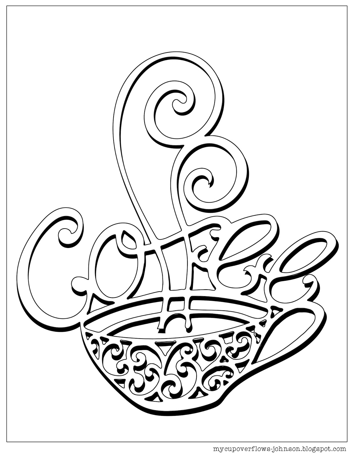 It is a picture of Ambitious Coffee Cup Coloring Page