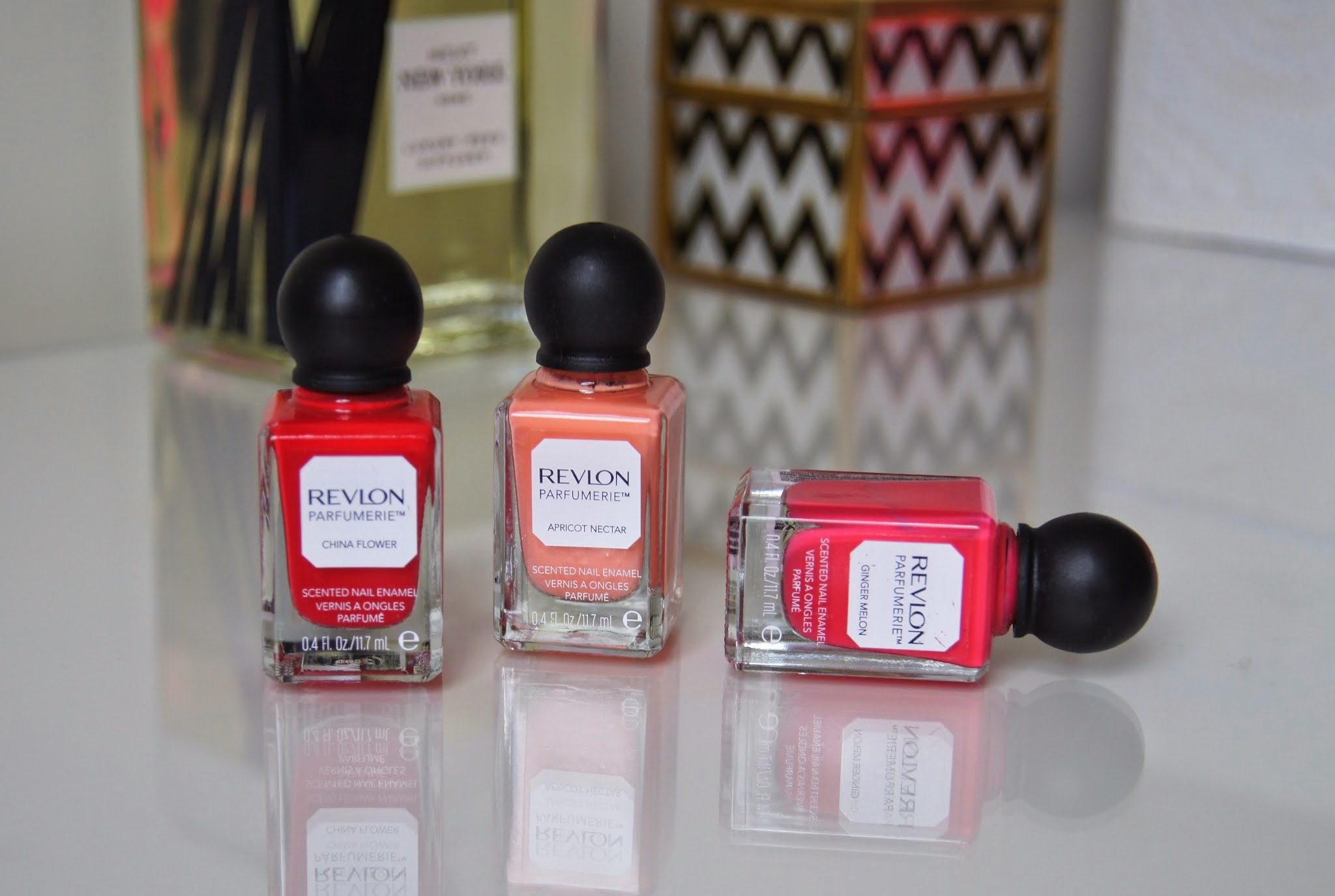 revlon parfumerie scented nail enamel review china flower apricot nectar ginger melon