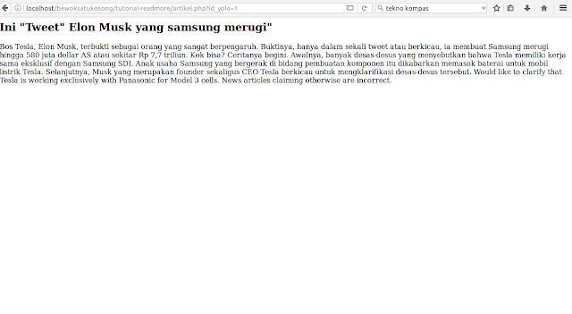 Jika readmore di click maka akan muncul artikel php beserta id_artikelnya