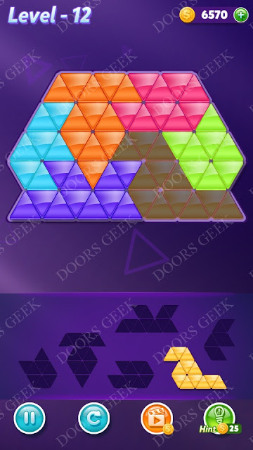 Block! Triangle Puzzle Intermediate Level 12 Solution, Cheats, Walkthrough for Android, iPhone, iPad and iPod