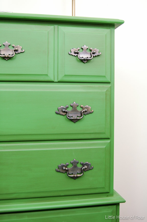 Bright and bold emerald green dresser