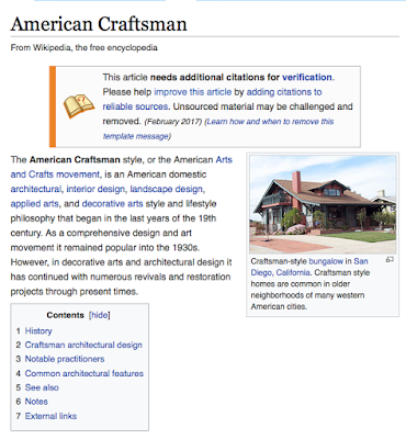 Wikipedia article on American Craftsman architectural style