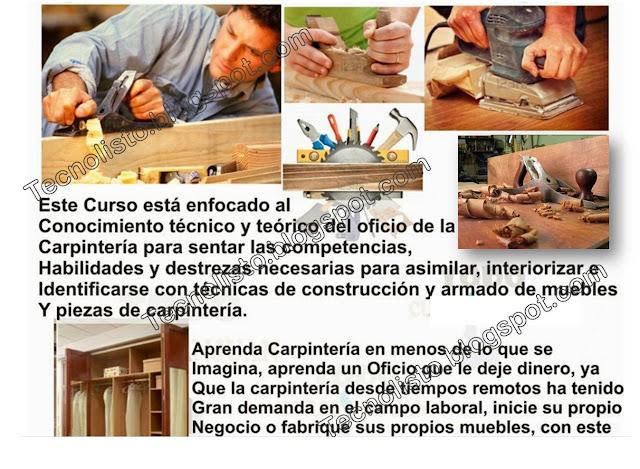 """""""Carpintería general, manejo de herramientas, identificación de maderas"""""""