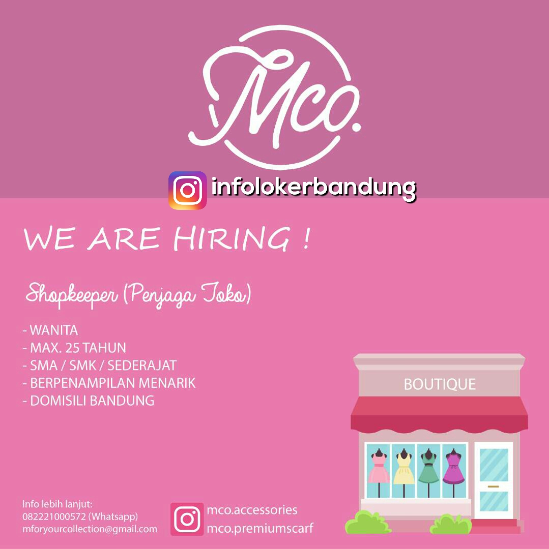 Lowongan Kerja MCO Boutique Bandung Juni 2017