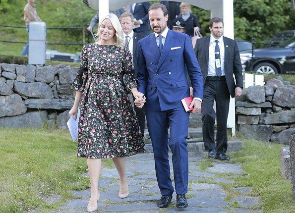Crown Princess Mette-Marit wore ERDEM Aleena Floral Print Matelasse Dress