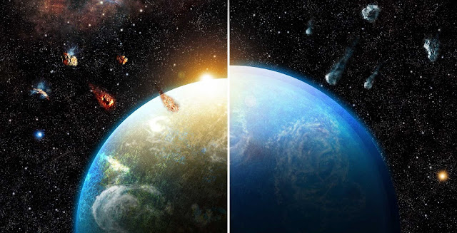 Artist's rendering of researchers' simulations shows how planetary systems born in dense and massive star formation regions (left) inherit substantial amounts of radioactive materials, making them much drier than those formed in different environments (right). Image credit: Roger Thibaut