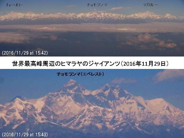 写真1 カトマンズからの帰りの飛行機から見た世界最高峰周辺の神々の座。