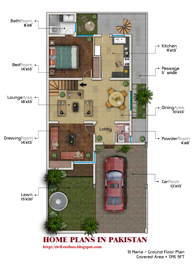4 marla house map design