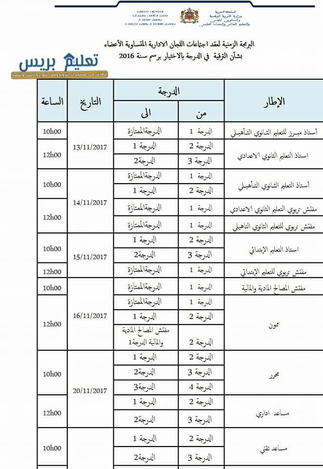 البرمجة الزمنية لعقد اجتماعات اللجان الثنائية بشأن ترقية 2016 لجميع الفئات