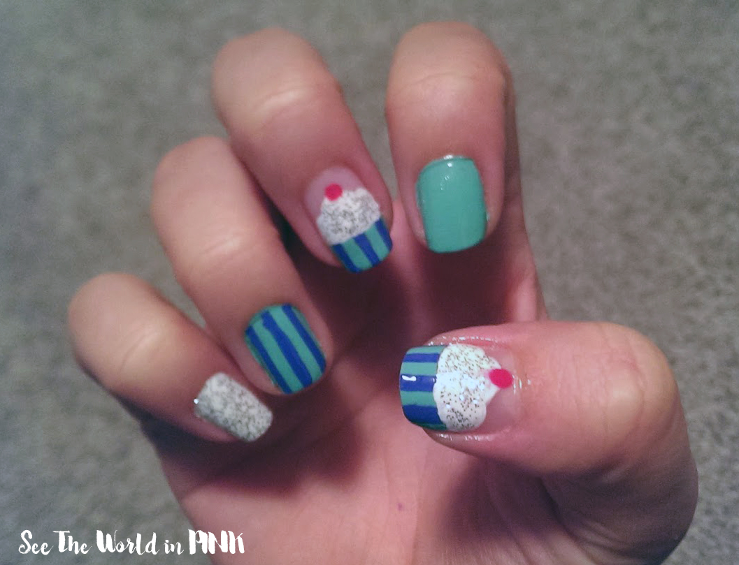 Manicure Monday Cupcake Nail Art A Monthly Pedicure Pink