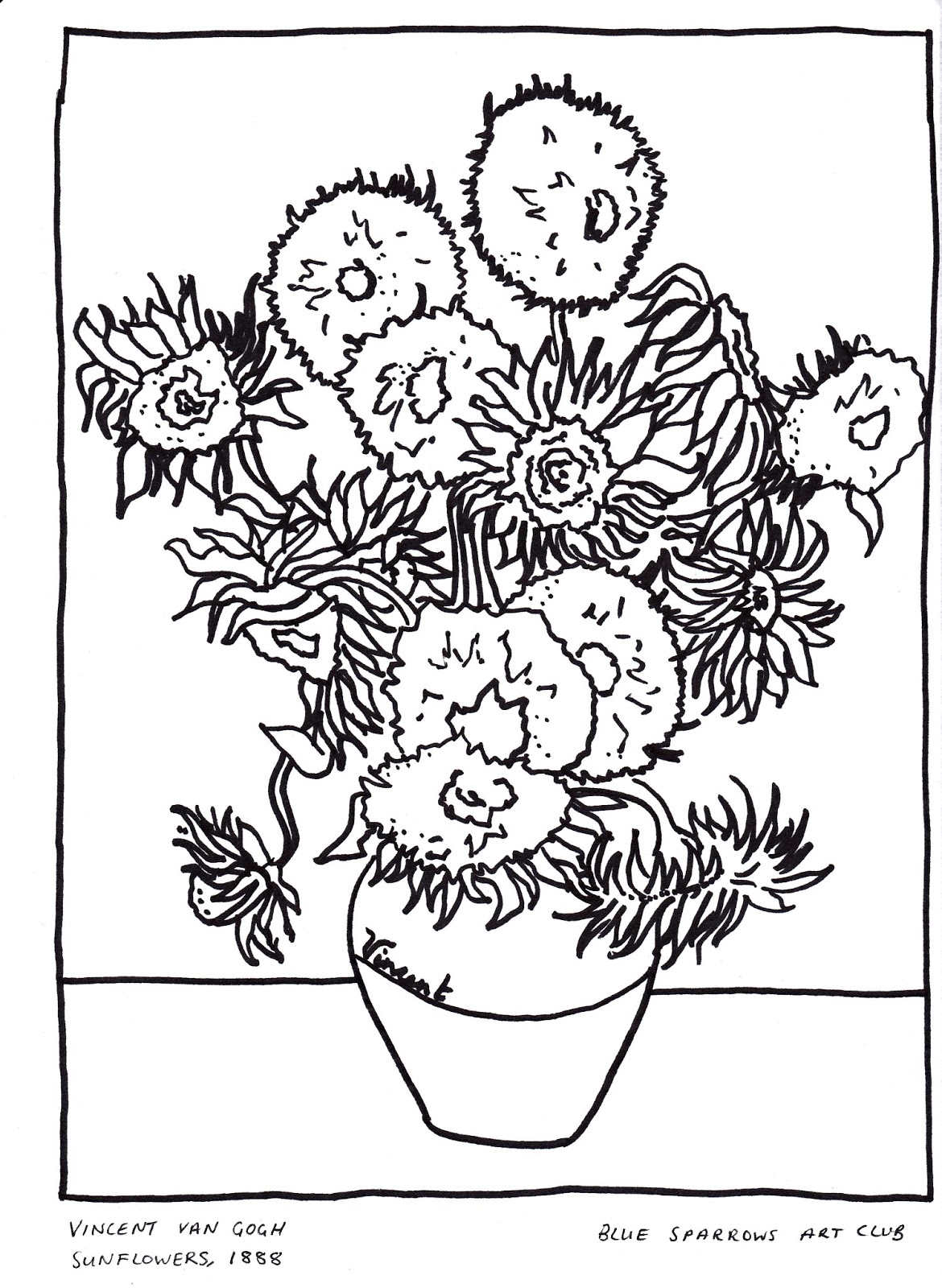 Coloring Pages Of Van Gogh Sunflowers