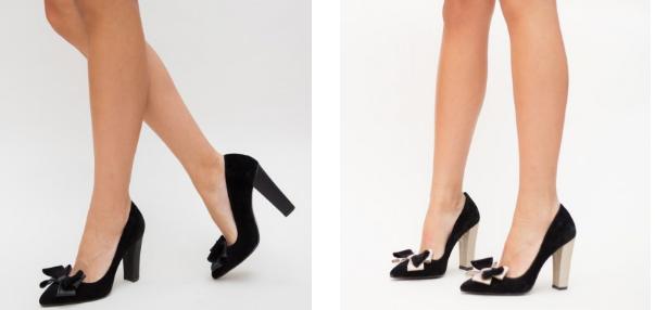 Pantofi cu toc eleganti negri, aurii din catifea cu fundita