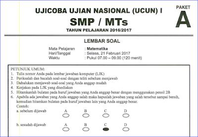 ini merupakan file terbaru yang berisi contoh soal latihan Ujian Nasional  Soal Try Out (TO) UN/UNBK SMP/MTS Matematika 2017/2018