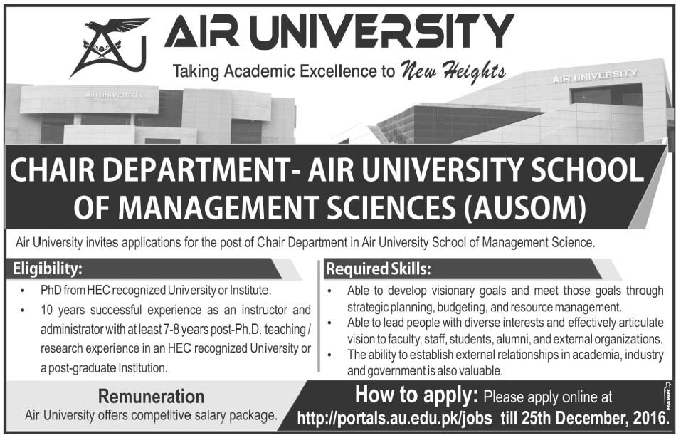 Job in Air University Islamabad