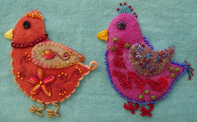 Robin Atkins embroidered, wool applique chicks