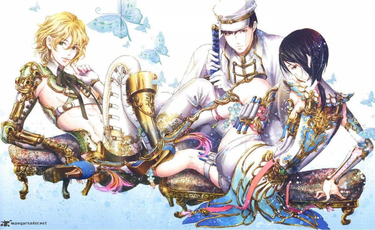 L-R: Adekan's main characters Anri Yoshiwara, Kojiro Yamada and Shiro  Yoshiwara
