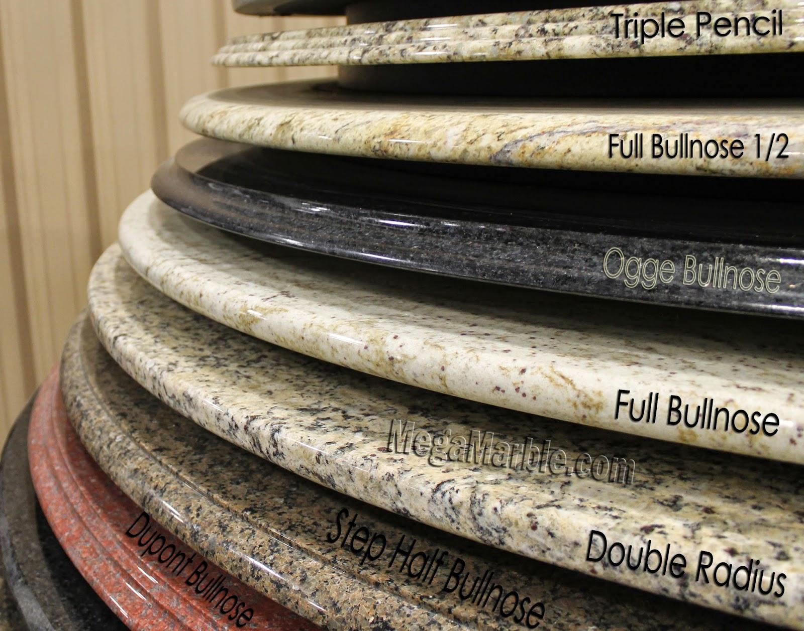 Countertop Edge Profiles Caesarstone : Bevel, Demi Bullnose, Triple Pencil, Full Bullnose