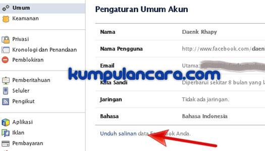 Cara Mengunduh Data Facebook Anda