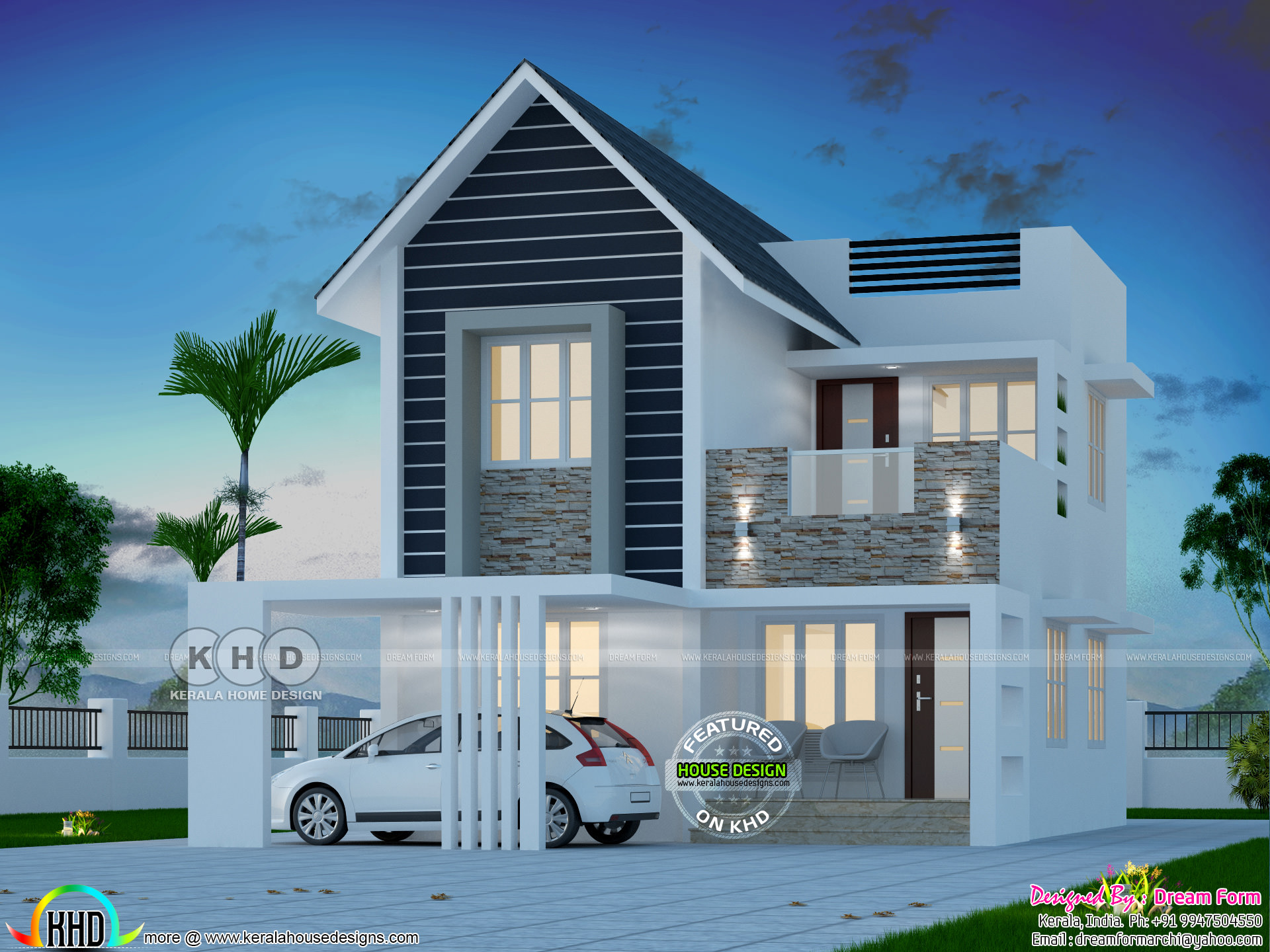 1559 Square Feet Cute Modern 3 BHK Home Plan