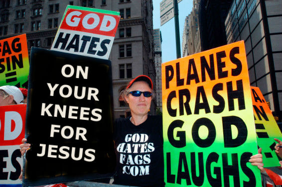 Funny protest sign - on your knees for Jesus picture