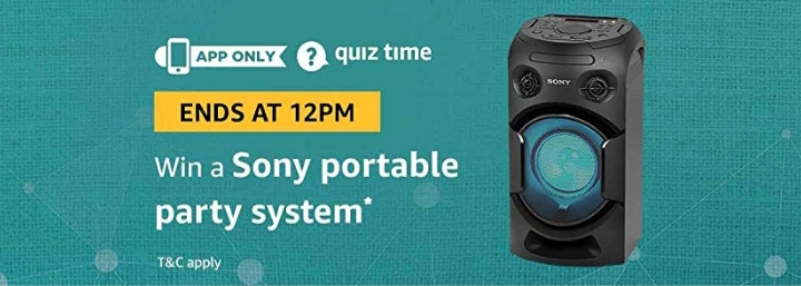Amazon Sony portable party system Quiz Contest answer 29th of December