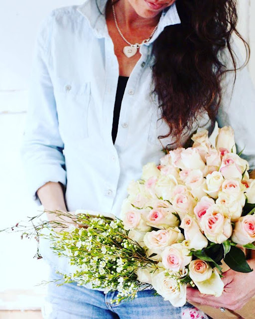 Blue jeans and blush roses