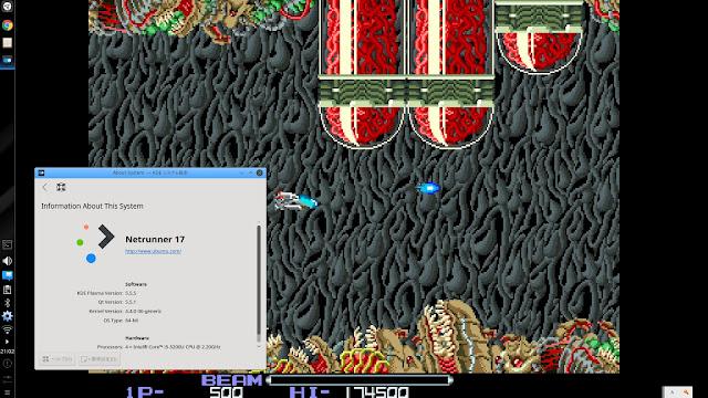 ステージ2。R-TYPEのゲーム画面。Linux Netrunner 17でレトロゲームで遊んでみた。