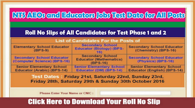 NTS AEOs & Educators Jobs Test Date
